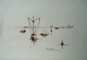 Garnalenvissers aan de kust bij Yerseke