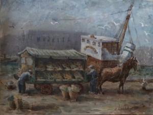 Groentekraam in de haven met de Cornelia op de achtergrond