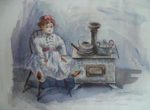 Popje in een keukentje