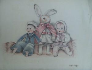 Speelgoedpoppen en knuffel