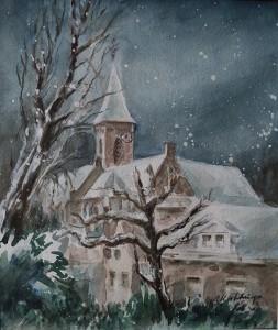 Dorpskerk te Wassenaar bij sneeuw