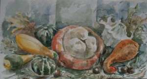 Stilleven met pompoenen en kalebassen