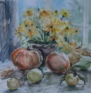Pompoenen, appels en bloemen