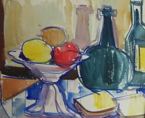 Stilleven met fruitschaal, vazen en flessen