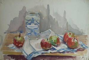 Stilleven met appels, een glazen pot en theedoek