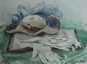 Stilleven met hoed, handschoenen, bril en boek