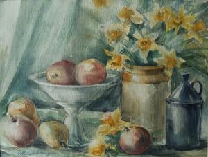 Stilleven met bloemen, fruit en tinnen pot