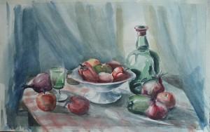 Stilleven met groenten, fruit en flessen