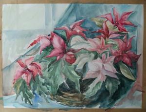 Mand met tropische bloemen