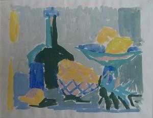 Stilleven met fruitschaal, citroenen, ananas en een fles