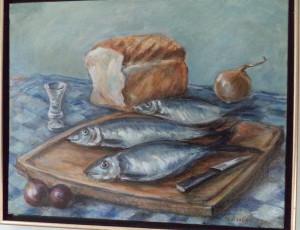 Stilleven met haring en wittebrood