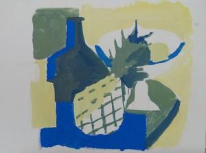 Stilleven met ananas, citroenen en flessen