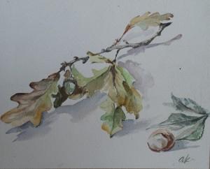 Herfststilleven met eikenblad