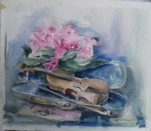 Stilleven met bloemen en viool