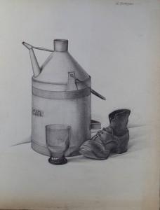 Stilleven met petroleumfles, schoen en glas