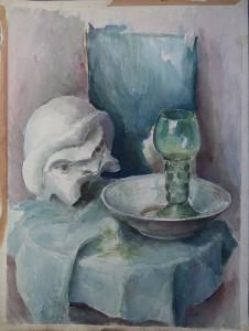 Stilleven met Grieks masker, doek, kom en glas