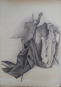 Stilleven met doek, engelenbeeldje, sabel, harnas en boek