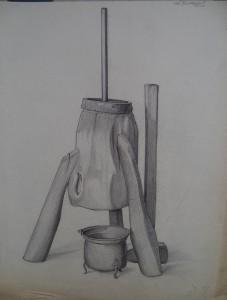 Stilleven met kookpot en ketel