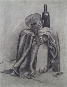 Stilleven met doek, mandoline, wijnfles en schelp