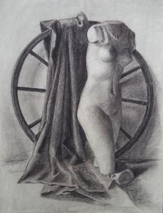 Stilleven met beeldje, doek en wiel