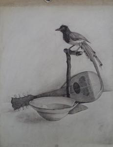 Stilleven met kom, mandoline en opgezette vogel (geometrie op de achterzijde)