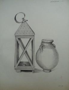 Stilleven met kruik en lantaarn