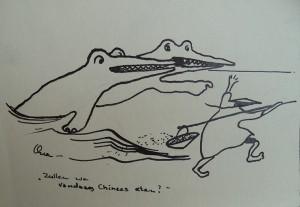 Striptekening Krokodillen en Chinees