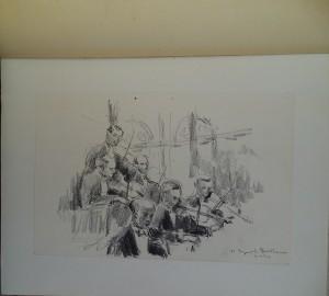 Concerten in het Concertgebouw, o.a. tekeningen van muzikanten en dirigenten, bijv. Jean Martinou en Eugene Ormandy