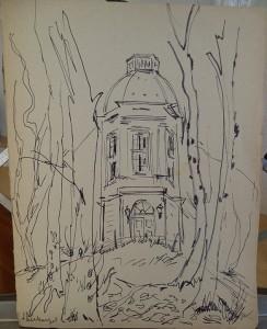 Enkele gebouwen, een dorpsplein en studie naar een oude boom