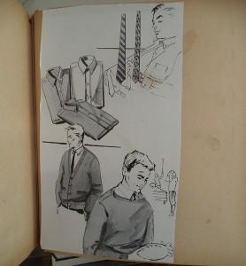 Scrap Book, knipselboek vol uitgeknipte modetekeningen, die Addi tekende voor enkele Amerikaanse warenhuizen