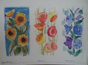 Tekenblok met decoratieve randontwerpen, bloemstudies, muzikanten en abstracte figuren