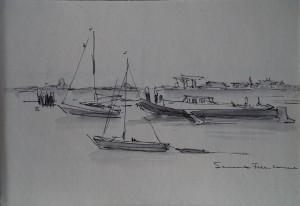 Bundel losse tekeningen van Friese meren en boten, Sail 1985, Vissende man (Fred Kubbinga?), schetsjes van Portugese musici