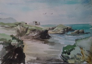 Tekenbblok met aquarellen van reis in Spanje in Portugal, o.a. kust bij Prais dos Costros, Quinta Dimalago in Silves