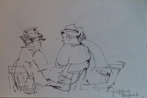 Tekenblok met losse tekeningen van reis naar Amerika, o.a. Florida, Lake Conensus (New York), Rockefeller Centre, New York